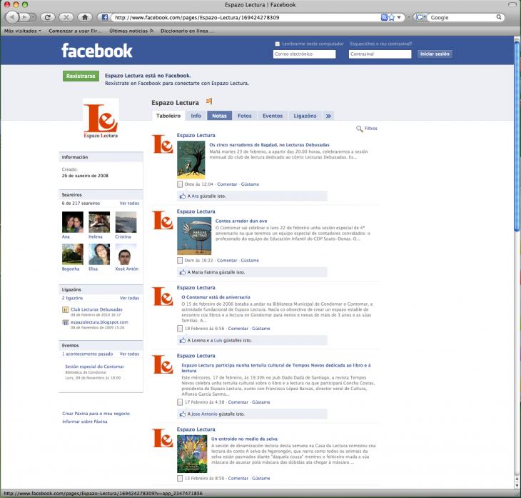 Espazo Lectura, tamén en Facebook