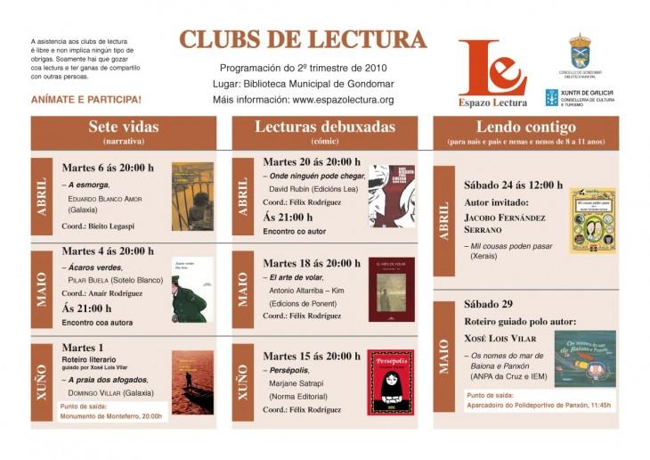 Clubs de Lectura: programación trimestral abril-xuño