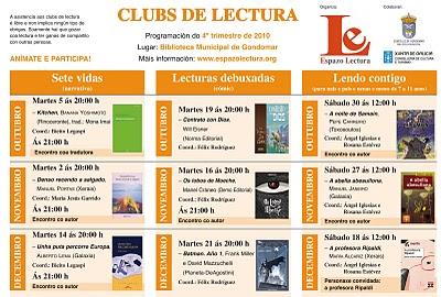 Clubs de lectura: programación outubro-decembro