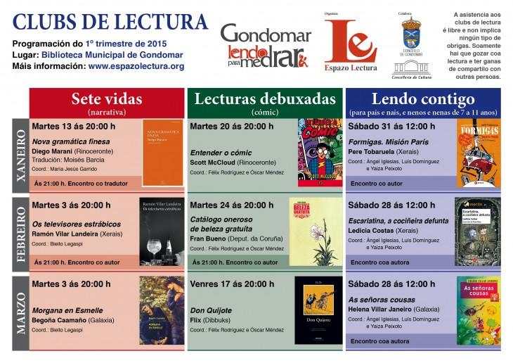 Clubs de lectura: calendario trimestral (xaneiro-marzo, 2015)