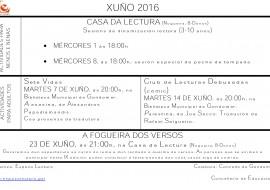 Calendario de actividades para o mes de xuño