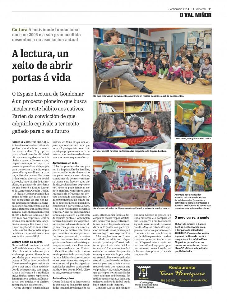 Reportaxe de Miriam Vázquez en La Voz de Galicia sobre as actividades de Espazo Lectura