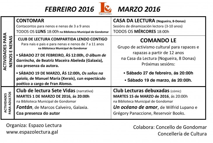 Actividades febreiro-marzo 2016