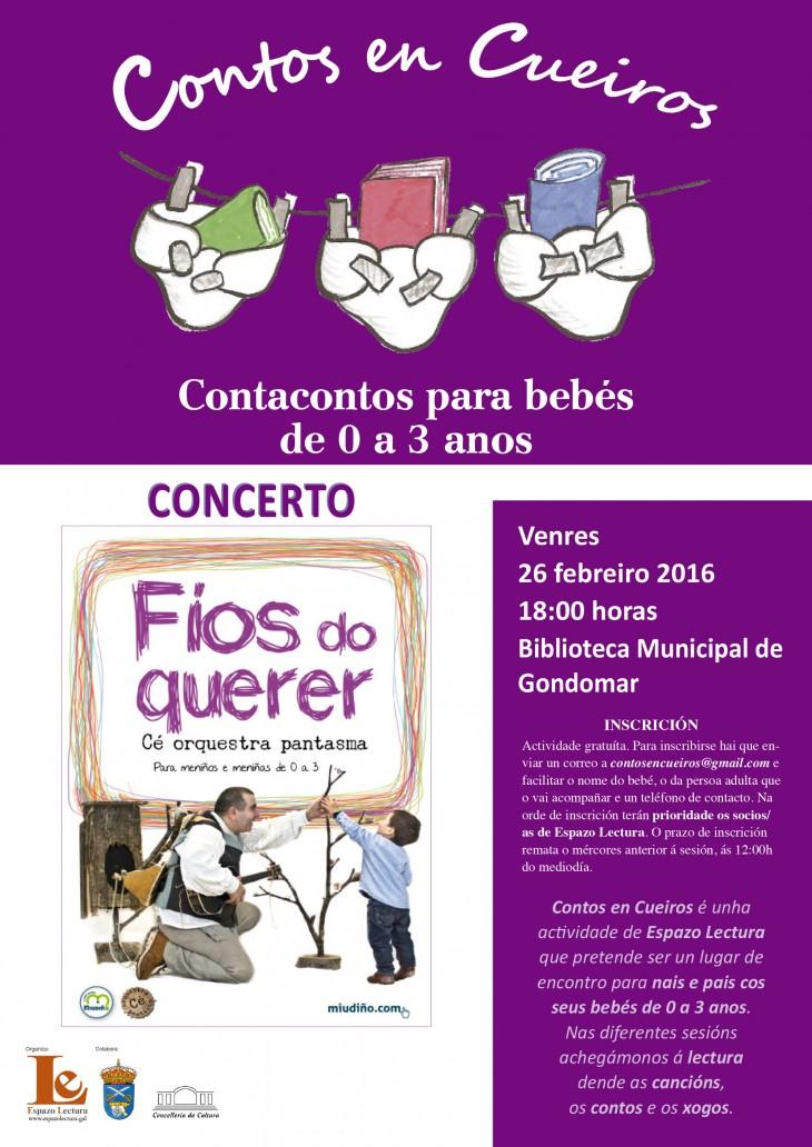 """Contos en Cueiros organiza o concerto para bebés """"Fíos do querer"""", do Cé Orquestra Pantasma"""