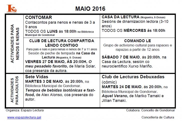Actividades para o mes de maio 2016