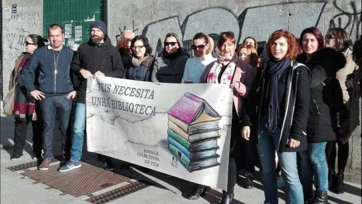 Colexios, comerciantes e veciñanza de Teis únense por unha biblioteca no barrio