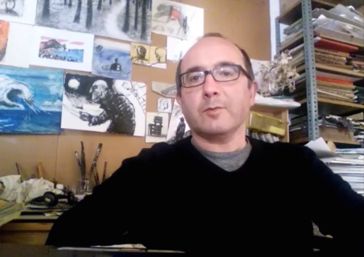O artista plástico Ramón Trigo apoia a campaña «Por unha biblioteca digna» para Gondomar