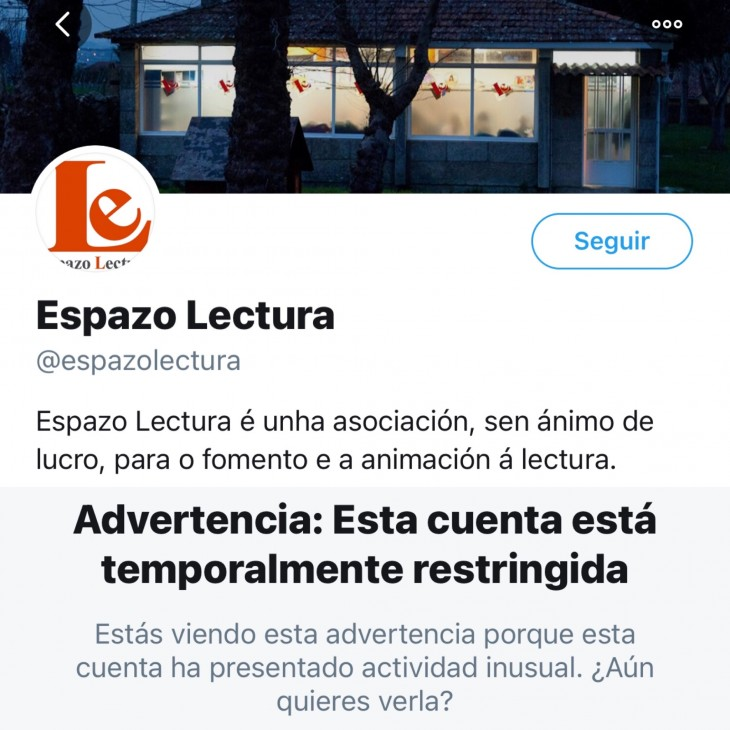 Twitter suspende a conta de Espazo Lectura